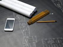 Une partie du projet architectural illustration stock