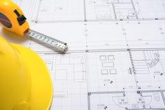 Une partie du projet architectural Outils pour concevoir une nouvelle maison photographie stock libre de droits
