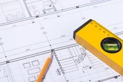 Une partie du projet architectural Outils pour concevoir une nouvelle maison photo stock