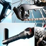 Une partie du vélo. roue, gouvernail de direction, réseau, pignon Image stock