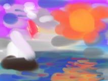 Une peinture abstraite de la mer Images stock