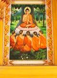 Une peinture de Bouddha à un temple au Laos Photos libres de droits