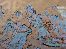 Une peinture de paysage faite sur le tissu Photographie stock libre de droits