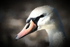 Une peinture numérique d'un beau cygne blanc dans le profil illustration libre de droits