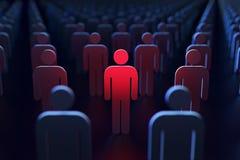 Une personne rougeoyant rouge entre d'autres personnes comme concept de l'espionnage par le gouvernement rendu 3d illustration de vecteur