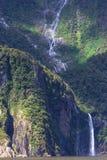 Une petite cascade à écriture ligne par ligne chez Milford Sound Photo stock