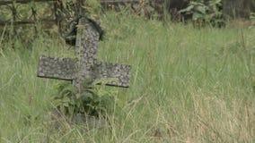 Une petite croix dans le vieux cimetière HD banque de vidéos