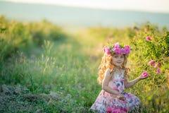 Une petite fille avec de beaux longs cheveux blonds, habillés dans une robe légère et une guirlande de vraies fleurs sur sa tête, photographie stock libre de droits