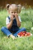 Une petite fille avec les baies rouges lumineuses dans le plat blanc sur Images libres de droits