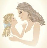 Une petite fille et à la maman. illustration stock