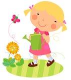 Une petite fille et une fleur mignonnes illustration libre de droits