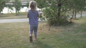 Une petite fille marche sur une pelouse verte à ses parents banque de vidéos
