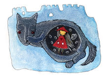 Une petite fille mignonne et un loup Conte de fées de capuchon rouge Image stock