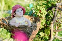 Une petite fille mignonne s'assied sur un foin dans un panier dans le jardin Photos stock