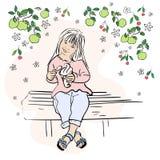 Une petite fille mignonne tenant le cornet de crème glacée dans le jardin sur le banc de parc Illustration de vecteur illustration stock
