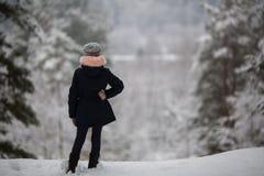 Une petite fille se tient en parc de neige image stock