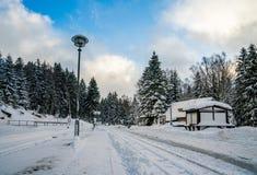 Une petite gare ferroviaire de mesure étroite dans le Harz pendant l'hiver photographie stock libre de droits