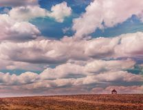 Une petite maison au bord d'un champ sans fin Image libre de droits