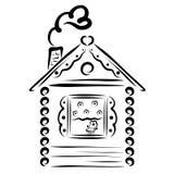 Une petite maison confortable avec une fleur sur le rebord de fenêtre et coeurs illustration stock