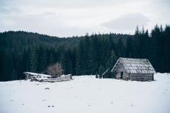 Une petite maison en bois dans une forêt à l'hiver image stock