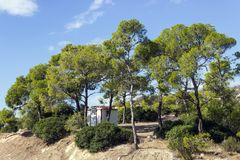 Une petite maison parmi les pins sur le dessus de montagne La Grèce Images libres de droits