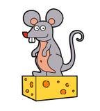 Une petite souris tient dans des ses pattes un morceau de fromage illustration stock