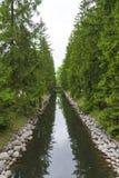 Une petite voie d'eau avec des arbres coniféres et un pont Images libres de droits