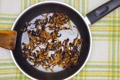 Une photo aérienne d'oignon brûlé sur la casserole noire de téflon Repas brûlé trop cuit malsain corrompu Restes répugnants d'oig photos libres de droits