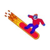 Une photo d'un surfeur dans les vêtements de sport sur un conseil brûlant Photo stock