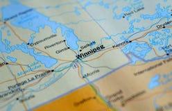 Une photo de Winnipeg sur une carte photographie stock libre de droits