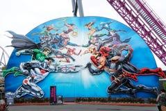 Une photo du parc à thème du monde de film dans Gold Coast, Australie avec le foyer sélectif sur les superhéros de la merveille c photographie stock libre de droits