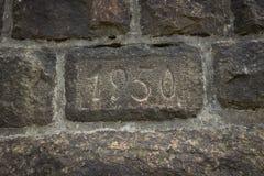 Une pièce d'un mur construit en 1950 Photo libre de droits