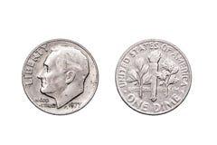 Une pièce de monnaie américaine de dixième de dollar photographie stock libre de droits