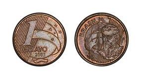 Une pièce de monnaie brésilienne de cent vraie, avant et visages arrières photographie stock libre de droits