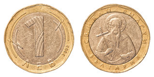 Une pièce de monnaie de levs de Bulgare Images libres de droits