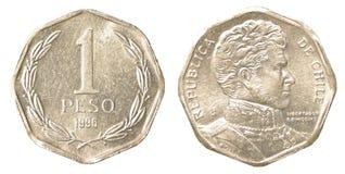 Une pièce de monnaie de peso chilien Images libres de droits