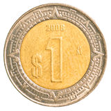 Une pièce de monnaie de peso mexicain Photographie stock