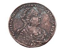 Une pièce de monnaie de rouble de 1727 ans. Photographie stock libre de droits