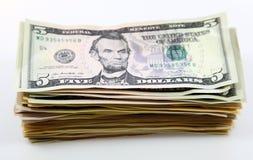 Une pile de billets de banque, billets d'un dollar Photographie stock