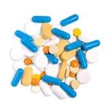 Une pile de différents pilules, comprimés et capsules Vue supérieure photos libres de droits