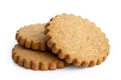 Une pile de trois biscuits ronds de pain d'épice d'isolement sur le blanc Se photographie stock libre de droits