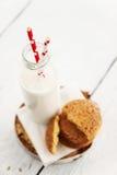 Une pile des biscuits sablés ronds et d'une bouteille de lait, sur W Photo libre de droits