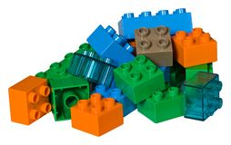 Une pile des briques en plastique de jouet Image stock