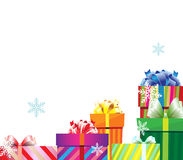 Une pile des cadres de cadeau de Noël Image stock