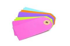 Labels de papier blanc de différentes couleurs Photos libres de droits