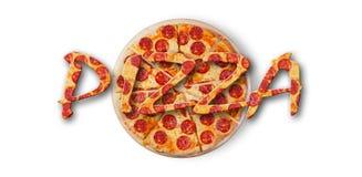 Une pizza de pepperoni de fond Images stock