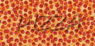 Une pizza de pepperoni de fond Photo stock