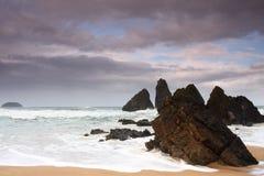 Une plage en Espagne du nord Images libres de droits
