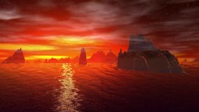 Une planète plus étrange Roches et lac animation 4К clips vidéos