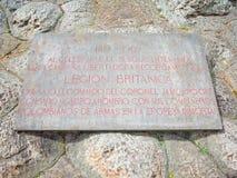 Une plaque dedicted à la légion britannique qui a aidé l'armée du ` s de Simin Bolivar à gagner l'indépendance pour la Colombie c photos stock